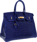 Luxury Accessories:Bags, Hermes Special Order Horseshoe 35cm Shiny Blue Electric & Indigo Porosus Crocodile Birkin Bag with Gold Hardware. ...