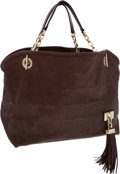 Luxury Accessories:Bags, Louis Vuitton Brown Embossed Leather Paris Souple Wish Shoulder Bagwith Tassel. ...