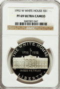 Modern Issues: , 1992-W $1 White House Silver Dollar PR69 Ultra Cameo NGC. NGCCensus: (2617/57). PCGS Population (2365/96). Mintage: 375,84...