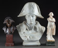 Paintings, A BRONZE BUST, CERAMIC BUST AND ALABASTER STANDING FIGURE OF NAPOLEON . 20th century. Marks to verso of ceramic bust: Davi... (Total: 3 Items)