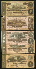 Confederate Notes:1864 Issues, A Quintet of Confederate Notes. . ... (Total: 5 notes)