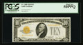 Small Size:Gold Certificates, Fr. 2400 $10 1928 Gold Certificate. PCGS About New 50PPQ.. ...