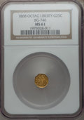 California Fractional Gold: , 1868 25C Liberty Octagonal 25 Cents, BG-746, High R.4, MS61 NGC.NGC Census: (5/3). PCGS Population (8/31). ...