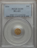 California Fractional Gold: , 1854 50C Liberty Round 50 Cents, BG-431, Low R.5, AU55 PCGS. PCGSPopulation (6/47). NGC Census: (1/7). ...