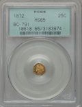 California Fractional Gold: , 1872 25C Indian Octagonal 25 Cents, BG-791, R.3, MS65 PCGS. PCGSPopulation (14/3). NGC Census: (12/2). ...