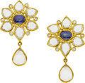 Estate Jewelry:Earrings, Temple St. Clair Sapphire, Moonstone, Diamond, Gold Earrings. ...