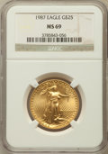 Modern Bullion Coins: , 1987 G$25 Half-Ounce Gold Eagle MS69 NGC. NGC Census: (1056/8). PCGS Population (426/3). Mintage: 131,255. Numismedia Wsl. ...