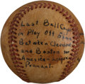 Baseball Collectibles:Balls, 1948 Last Out Baseball From Boston & Cleveland Tie Breaker Game - First Ever One Game AL Playoff. ...