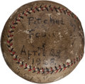 "Autographs:Baseballs, 1928 Hazen ""KiKi"" Cuyler Single Signed Baseball Pitched by G.C.Alexander...."