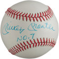 "Autographs:Baseballs, 1980's Mickey Mantle ""No. 7"" Single Signed Baseball...."