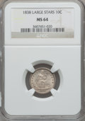 Seated Dimes, 1838 10C Large Stars MS64 NGC....