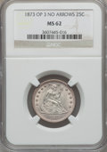 Seated Quarters, 1873 25C Open 3, No Arrows MS62 NGC....