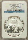 China:People's Republic of China, 2013 10 Yuan Panda Silver (1 oz), Early Releases MS69 NGC. PCGS Population (3711/4954)....