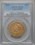 Liberty Eagles, 1839 $10 Type of 1840, Small Letters VG10 PCGS....