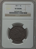 Large Cents, 1811 1C VF30 NGC. S-287, B-1, R.2....