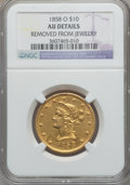Liberty Eagles: , 1858-O $10 -- Removed From Jewelry -- NGC Details. AU. NGC Census:(23/95). PCGS Population (26/52). Mintage: 20,000. Numis...