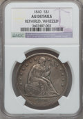 Seated Dollars: , 1840 $1 -- Whizzed, Repaired -- NGC Details. AU. NGC Census:(15/155). PCGS Population (41/102). Mintage: 61,005. Numismedi...