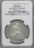 Seated Dollars: , 1847 $1 -- Improperly Cleaned -- NGC Details. XF. NGC Census:(23/377). PCGS Population (60/422). Mintage: 140,750. Numisme...