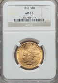 Indian Eagles: , 1913 $10 MS61 NGC. NGC Census: (1633/3074). PCGS Population(625/2816). Mintage: 442,071. Numismedia Wsl. Price for problem...