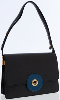 Louis Vuitton Very Rare Vintage Black Epi Leather and Blue Leather Shoulder Bag