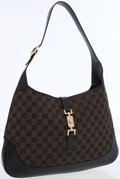 Luxury Accessories:Bags, Gucci Black Leather Classic Monogram Canvas Jackie Bag with GoldPiston Closure. ...