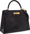 Luxury Accessories:Bags, Hermes 28cm Shiny Black Porosus Crocodile Sellier Kelly Bag with Gold Hardware. ...