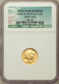 2008-W $5 Tenth-Ounce Gold Buffalo, First Year of Issue, MS69 NGC. .9999 Fine Gold. NGC Census: (565/2600). PCGS Popula...