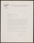 Baseball Collectibles:Others, 1952 Walter O'Malley Signed Letter....