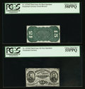 Fractional Currency:Third Issue, Fr. 1272SP 15¢ Third Issue Narrow Margin Grant-Sherman Pair PCGS Choice About New 58PPQ and 55PPQ.. ... (Total: 2 items)