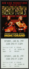 """Boxing Collectibles:Memorabilia, 1997 Evander Holyfield Vs. Mike Tyson II """"Bite Fight"""" Full Ticket...."""