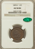 Half Cents: , 1809/6 1/2 C 9 Over Inverted 9 AU58 NGC. CAC. NGC Census: (40/35).PCGS Population (16/26). Mintage: 1,154,572. Numismedia ...