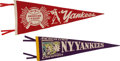 Baseball Collectibles:Others, 1940's New York Yankees Pennant Lot of 2. ...