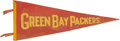Football Collectibles:Others, 1940's Green Bay Packers Pennant - Rare Red Variation!...