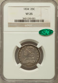 Bust Quarters: , 1834 25C VF25 NGC. CAC. NGC Census: (26/438). PCGS Population (33/565). Mintage: 286,000. Numismedia Wsl. Price for problem...