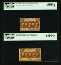Fr. 1279 25¢ First Issue PCGS About New 50PPQ; Fr. 1280 25¢ First Issue PCGS About New 53PPQ