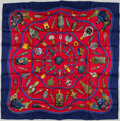 "Luxury Accessories:Accessories, Hermes Red. Blue & Gold ""Qu'Importe le Flacon,"" by CatherineBaschet Silk Scarf. ..."