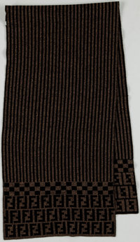 Fendi Black and Brown Stripe and Zucca Monogram Print Wool Scarf