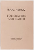 Books:Science Fiction & Fantasy, Isaac Asimov. Foundation and Earth. New York, Doubleday & Co., 1986. Advance copy in publisher's wrappers. Light...