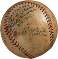 Autographs:Baseballs, 1927 New York Yankees Partial Team & Walter Johnson SignedBaseball....