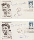Autographs:Others, 1983 Mickey Mantle & Roger Maris Signed Cachets Lot of 2....