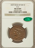 1839 1C Head of 1838 MS64 Brown NGC. CAC. N-2, R.2....(PCGS# 1744)