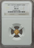 California Fractional Gold: , 1871 25C Liberty Octagonal 25 Cents, BG-717, R.3, MS64 NGC. NGCCensus: (10/20). PCGS Population (62/73). ...