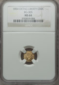 California Fractional Gold: , 1854 50C Liberty Octagonal 50 Cents, BG-305, Low R.4, MS64 NGC. NGCCensus: (4/2). PCGS Population (7/1). ...