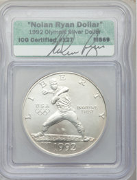1992-D $1 Olympic Silver Dollar MS69 ICG. Ex: Original Signature by Model Nolan Ryan. NGC Census: (3127/157). PCGS Popul...