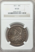 Bust Half Dollars: , 1811 50C Large 8 VF25 NGC. NGC Census: (23/875). PCGS Population(7/348). Mintage: 1,203,644. Numismedia Wsl. Price for pro...