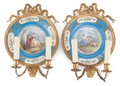 Decorative Arts, Continental, A PAIR OF SÈVRES-STYLE PLATES MOUNTED AS TWO-LIGHT SCONCES. Circa1900. Marks: CH DE DREUX, S 43. 14-1/4 inches high (36...(Total: 2 Items)