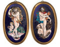 Ceramics & Porcelain, Continental:Modern  (1900 1949)  , A PAIR OF FRAMED LIMOGES ENAMEL OVAL PLAQUES. 20th century. 14 inches high (40.6 cm) (plaque). ... (Total: 2 Items)