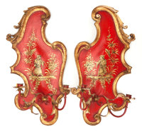 A PAIR OF RED JAPANNED TWO-ARM WALL SCONCES Late 19th/early 20th century 25 inches high (63.5 cm)
