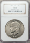 Eisenhower Dollars, 1972 $1 Type One MS65 NGC. NGC Census: (867/22). PCGS Population(431/19). Mintage: 75,890,000. Numismedia Wsl. Price for p...