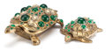 Paintings, TWO JEWELED BRASS FIGURAL TURTLE BOXES. 20th century. 6 inches long (15.2 cm) (longer). ... (Total: 2 Items)